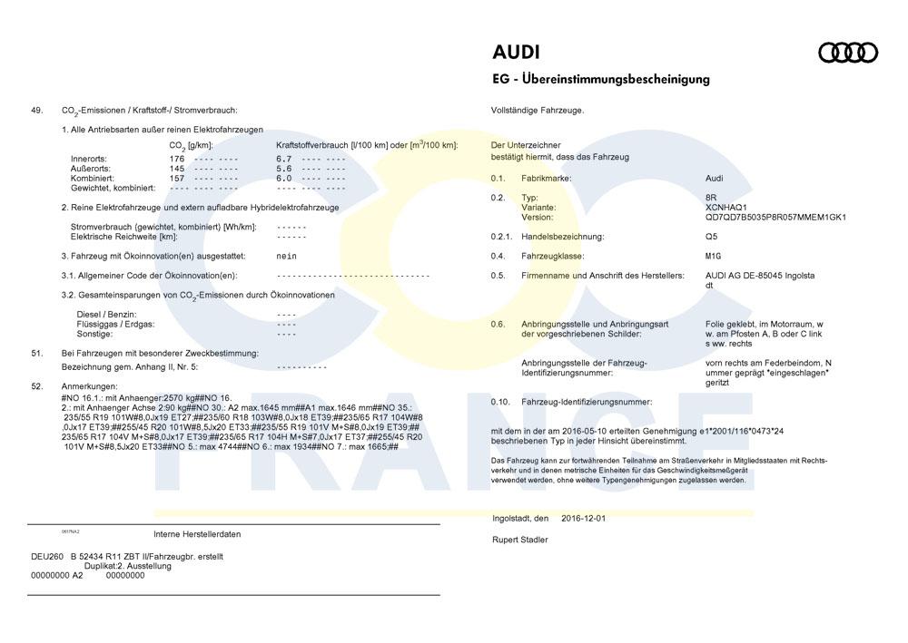 example de COC Audi au prix de 119 €