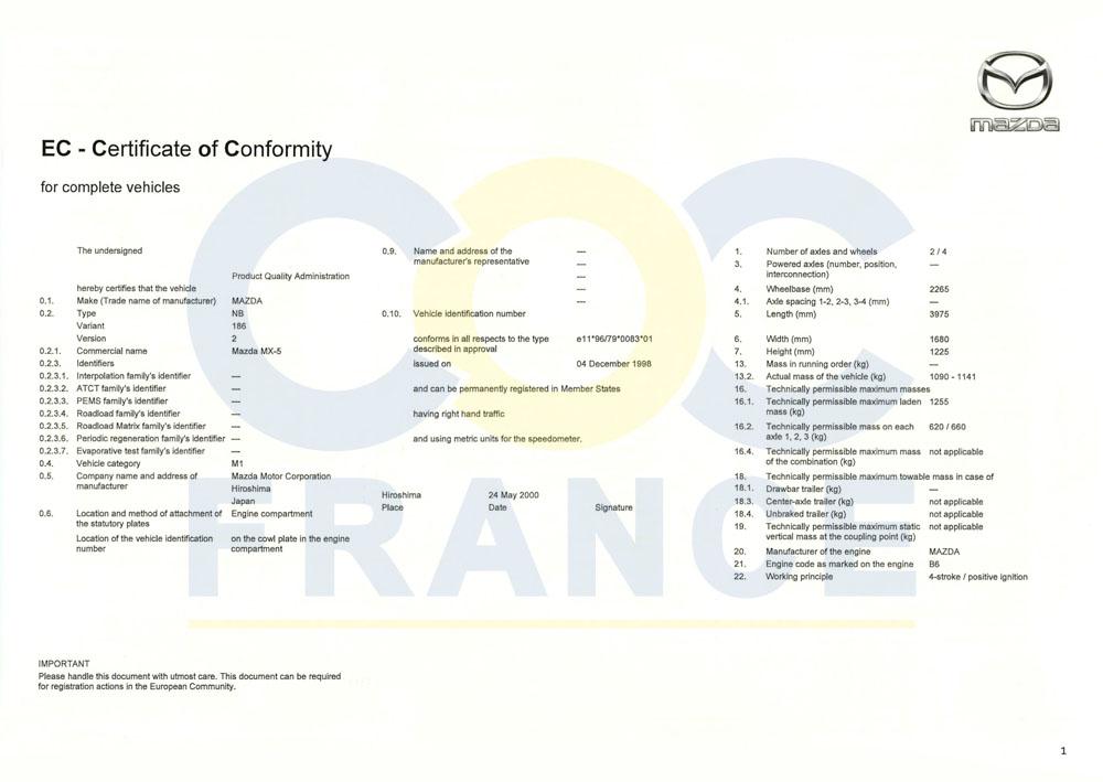 certificat conformit europ en mazda coc france. Black Bedroom Furniture Sets. Home Design Ideas