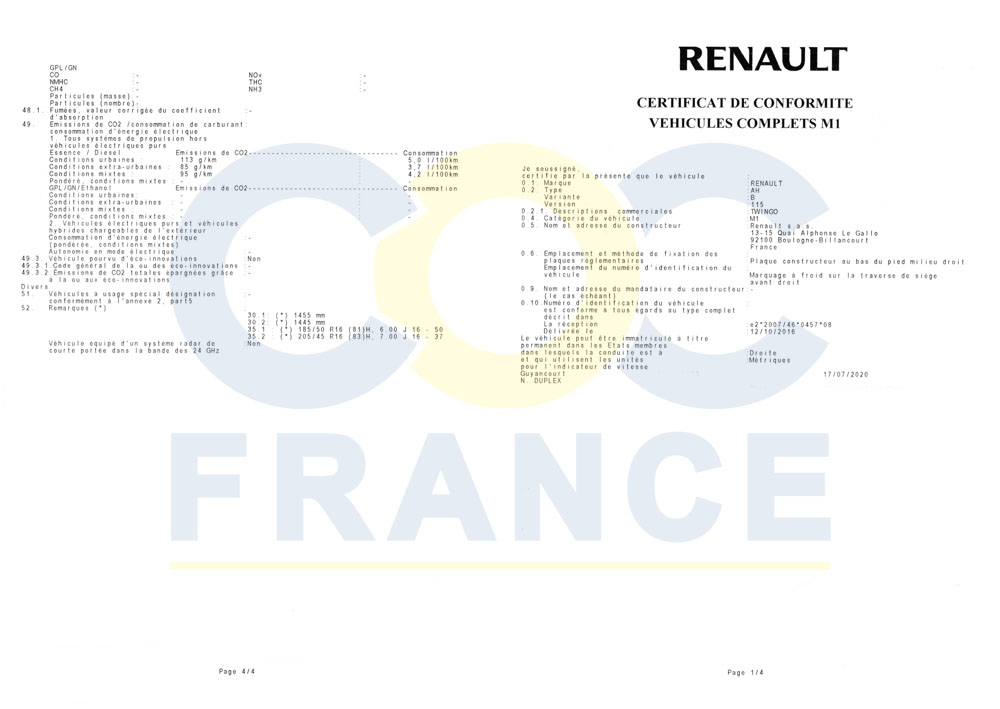 certificat de conformit europ en renault. Black Bedroom Furniture Sets. Home Design Ideas