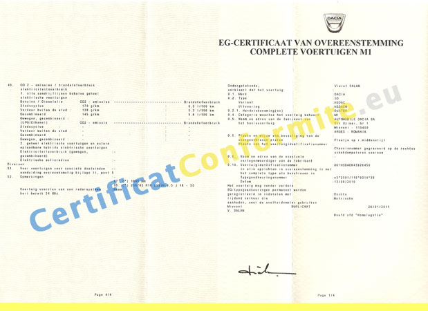 certificat de conformit dacia coc france. Black Bedroom Furniture Sets. Home Design Ideas