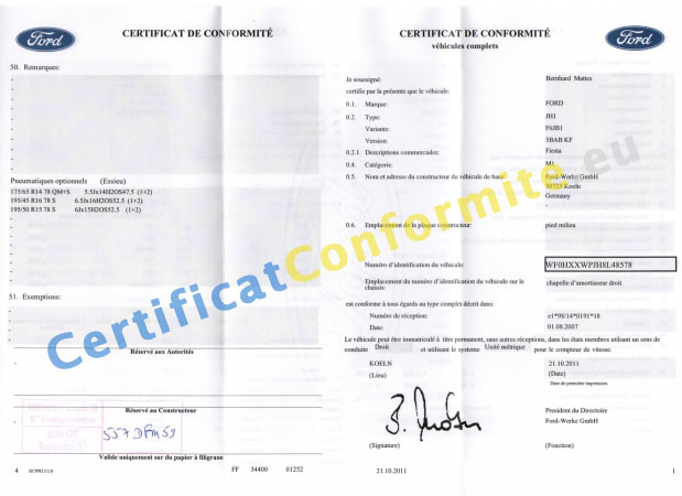certificat de conformit ford coc france. Black Bedroom Furniture Sets. Home Design Ideas