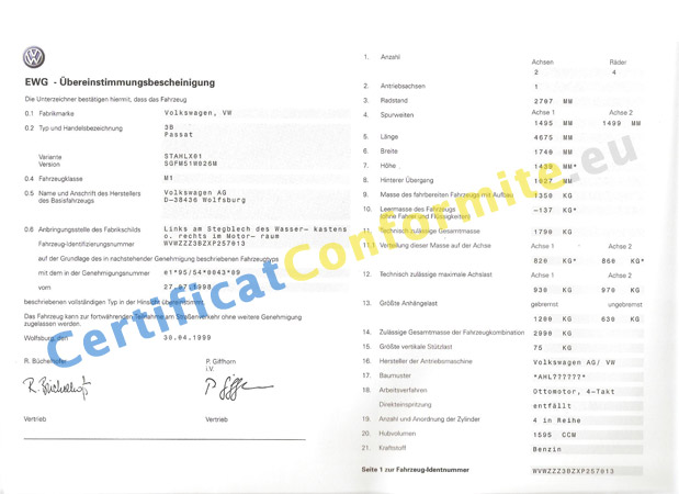 certificat de conformit europ en volkswagen coc volkswagen. Black Bedroom Furniture Sets. Home Design Ideas